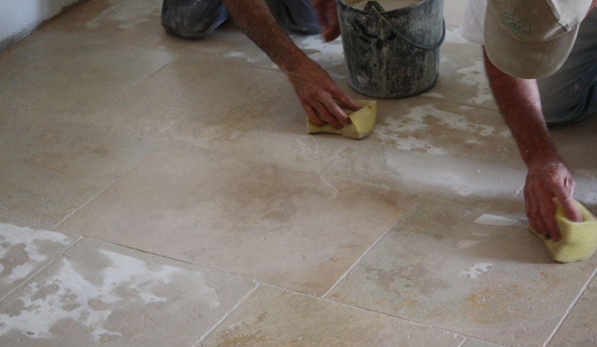 Laying Travertine Slurry Grouting Unfilled Tiles